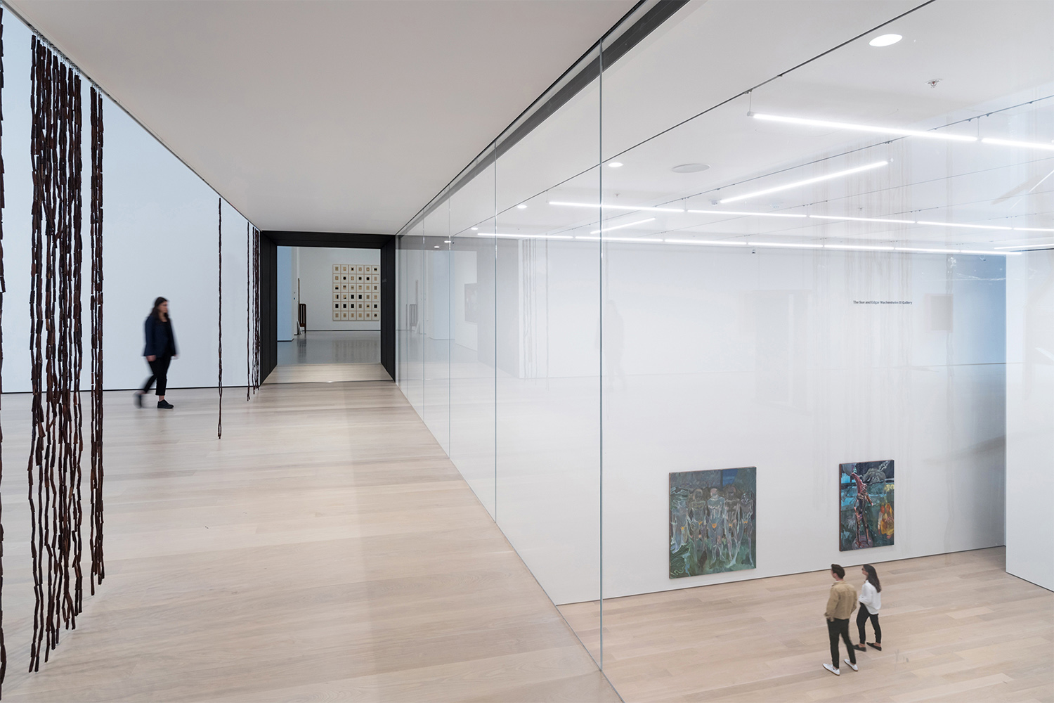 Installation view of Daylit gallery 212, Sheela Gowda's of all people, overlooking Projects Gallery, featuring Projects 110: Michael Armitage, The Museum of Modern Art Photography by Iwan Baan