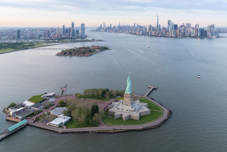 Liberty Island in New York Harbor, located between Manhattan and New Jersey. Copyright Iwan Baan