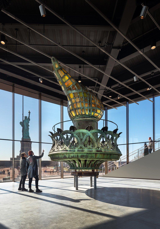 The Statue of Liberty's restored, original torch, located in the museum's Inspiration Gallery. Copyright David Sundberg/Esto