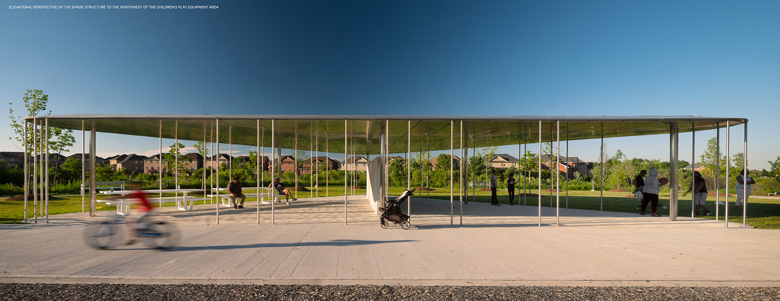 ELEVATIONAL PERSPECTIVE OF THE SHADE STRUCTURE TO THE NORTHWEST OF THE CHILDREN'S PLAY EQUIPMENT AREA Nic Lehoux