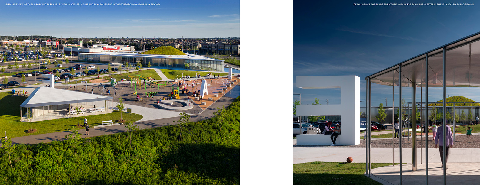 BIRD'S EYE VIEW OF THE LIBRARY AND PARK AREAS, WITH SHADE STRUCTURE AND PLAY EQUIPMENT IN THE FOREGROUND AND LIBRARY BEYOND & DETAIL VIEW OF THE SHADE STRUCTURE, WITH LARGE SCALE PARK LETTER ELEMENTS AND S Nic Lehoux