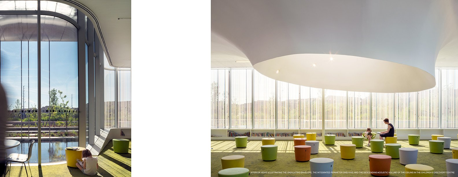INTERIOR VIEWS ILLUSTRATING THE UNDULATING ENVELOPE, THE INTEGRATED PERIMETER SHELVING, AND THE DESCENDING ACOUSTIC VOLUME OF THE CEILING IN THE CHILDREN'S DISCOVERY CENTR Nic Lehoux