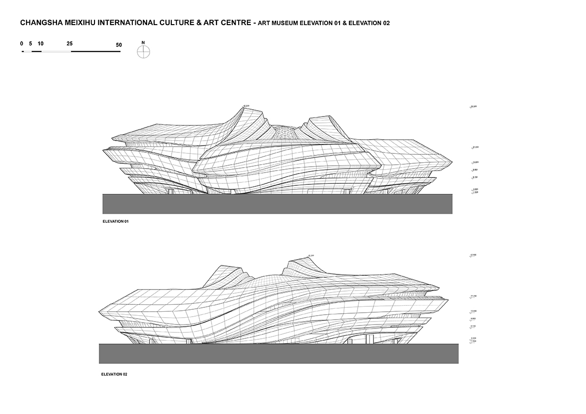 Museum Elevations © Zaha Hadid Architects}