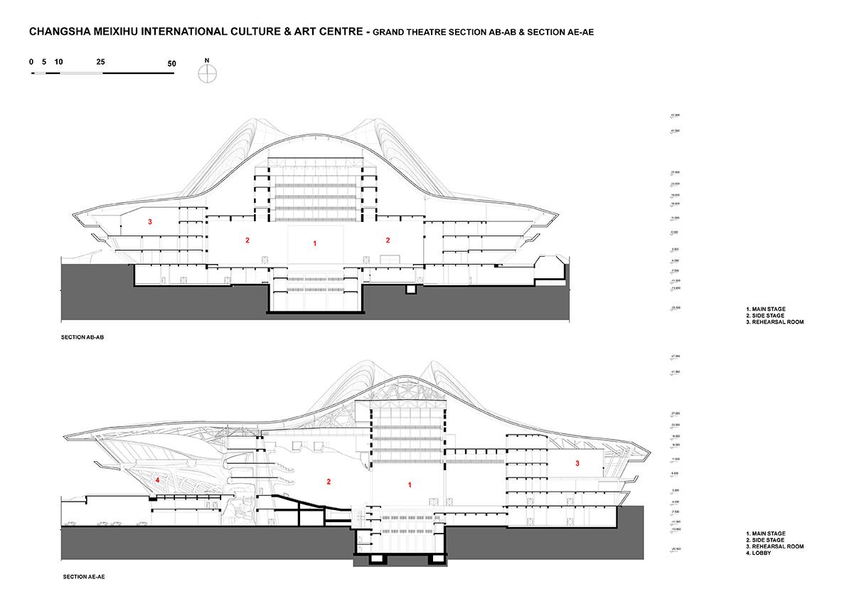 Grand Theatre Section © Zaha Hadid Architects}