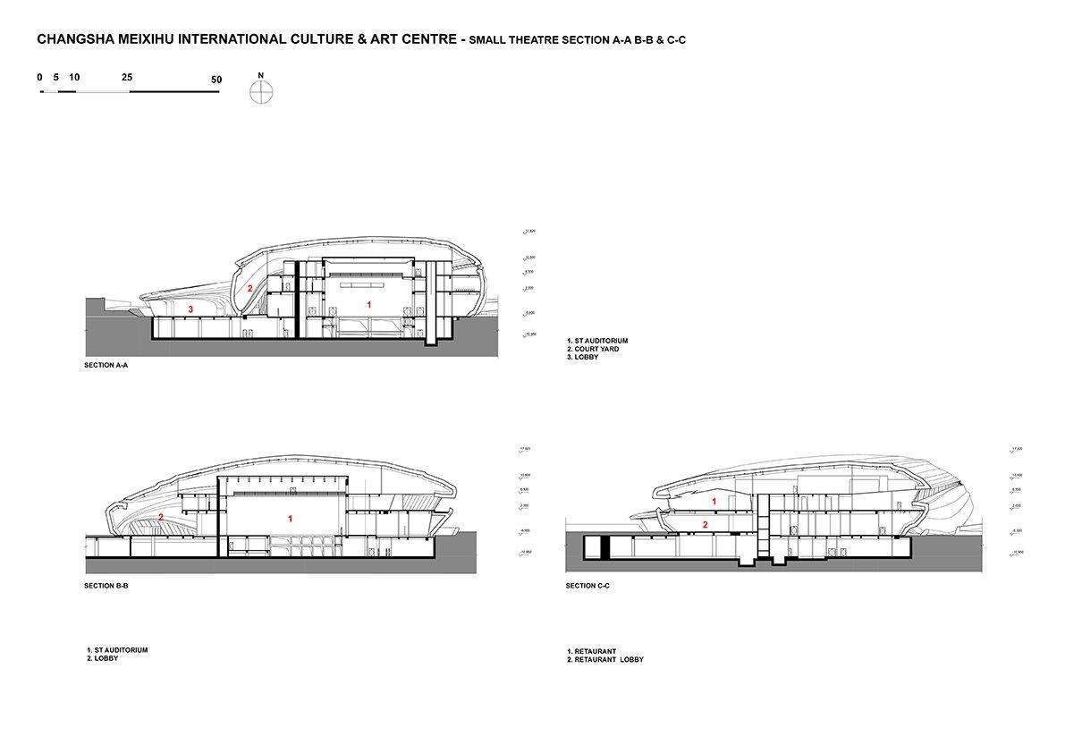 Small Theatre Section © Zaha Hadid Architects}
