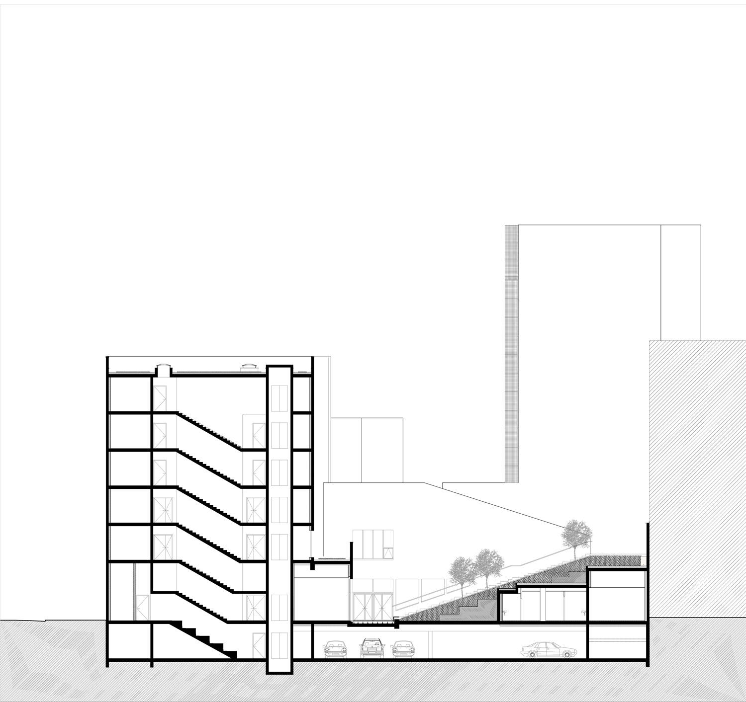 Longitudinal section 3 ©StéphaneMaupinArchitecture}