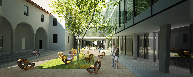 Spazio di lettura nel cortile interno Area Progetti