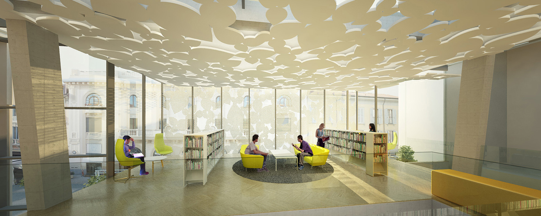 Sala di lettura nell'ampliamento Area Progetti