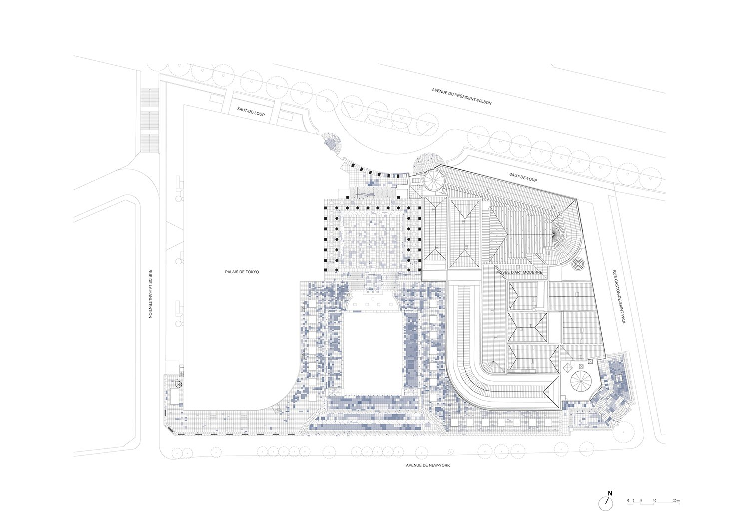Roof Plan with the central restaured square h2o architectes}