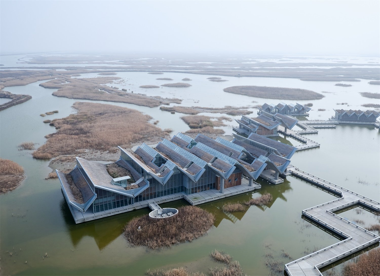 Aerial view of  Wetland Research and Education CHEN Hao