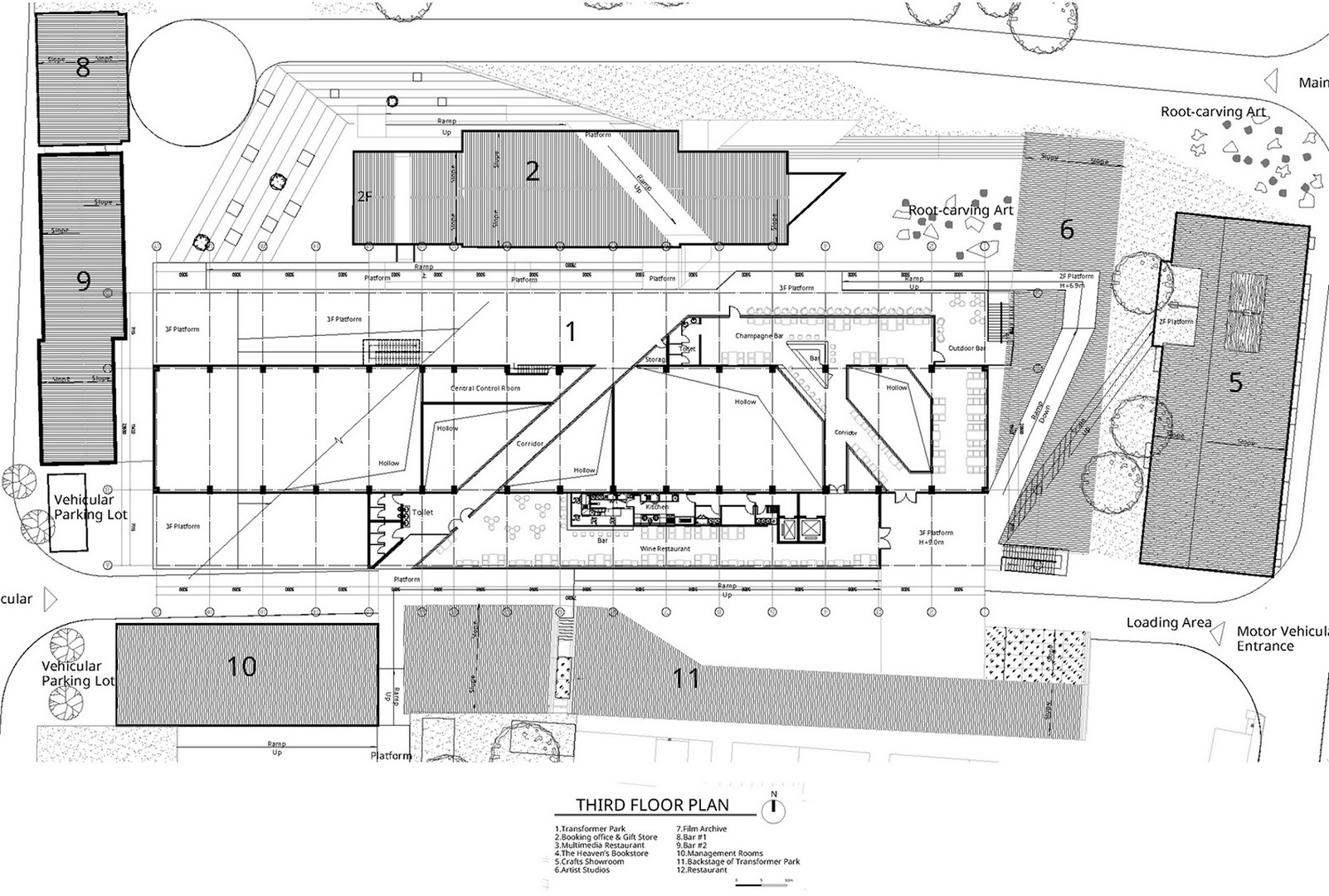 Roof plan of the Dali Transformer Park Theatrical District Atelier Alter Architects}