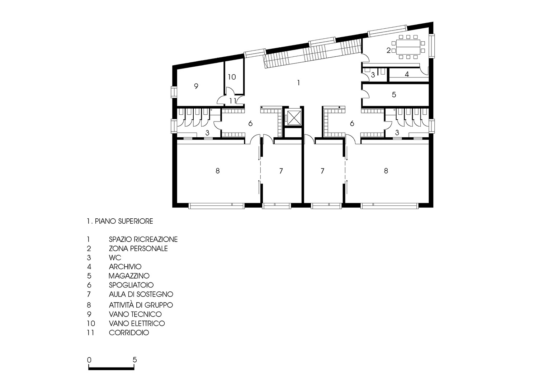 Pianta 1. Piano superiore Roland Baldi architects}