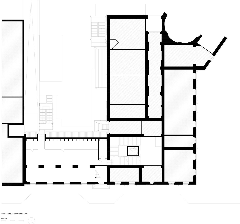 piano secondo ammezzato (esistente) Archisbang + Area progetti}