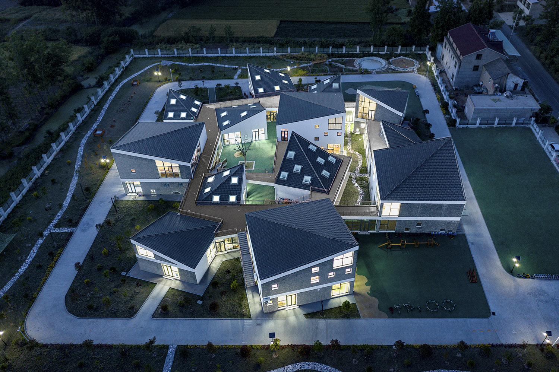 night aerial view of kindergarten WU Qingshan
