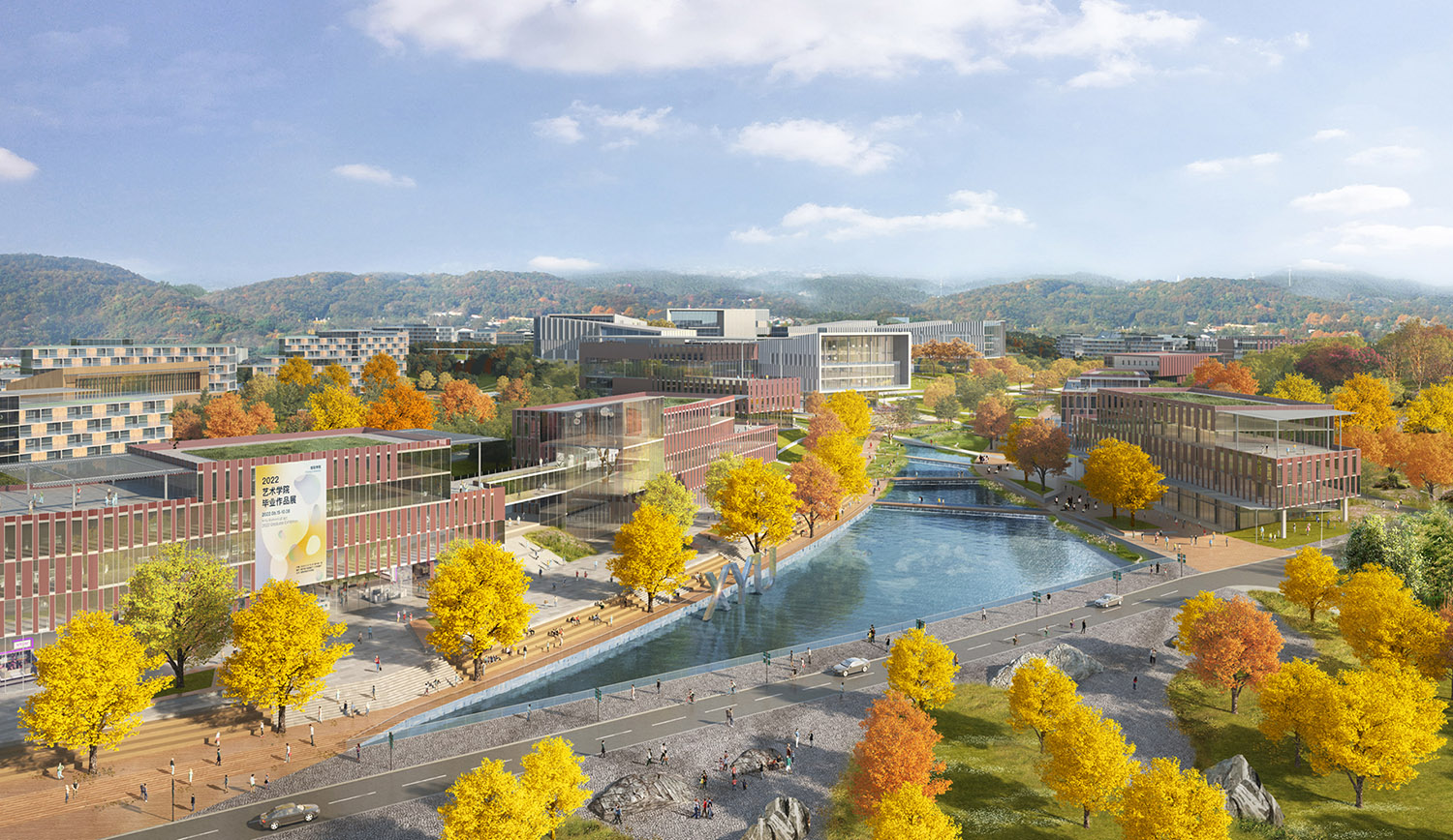 The academic valley connects all academic programs and celebrates an uninterrupted vista between the main entrance and preserved woodland. SASAKI