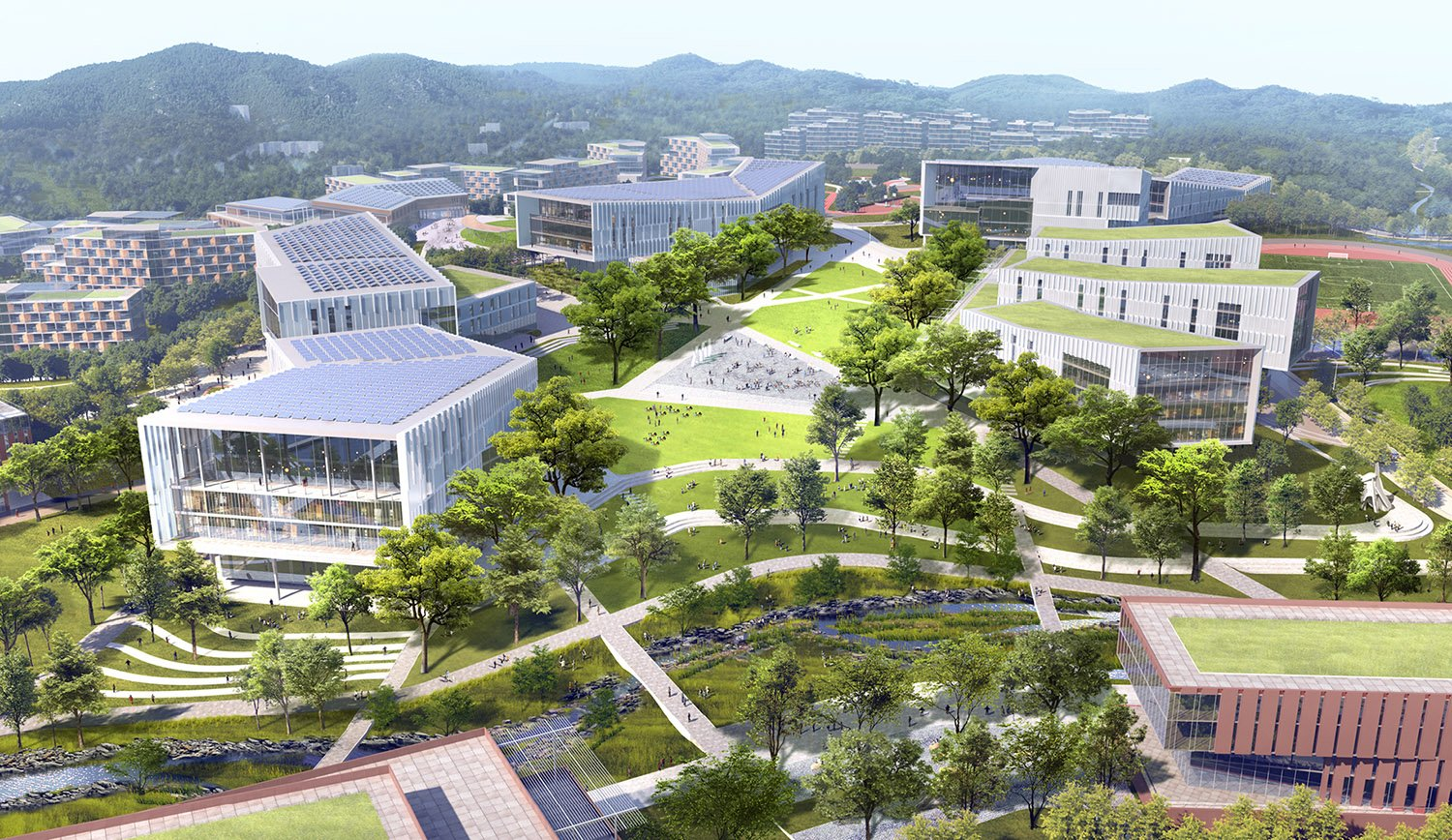 Buildings and key program destinations are within a 5-minute walk, enhancing the vibrancy of the campus core and fostering a pedestrian-oriented environment. SASAKI
