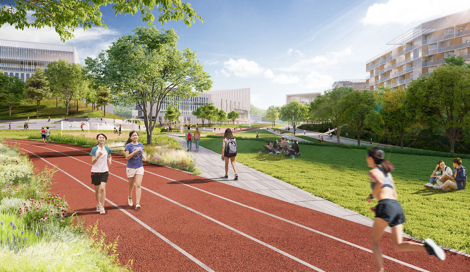 A hierarchy of trail system connects the entire campus while providing students with varied spaces for movement, recreation, and congregation. SASAKI