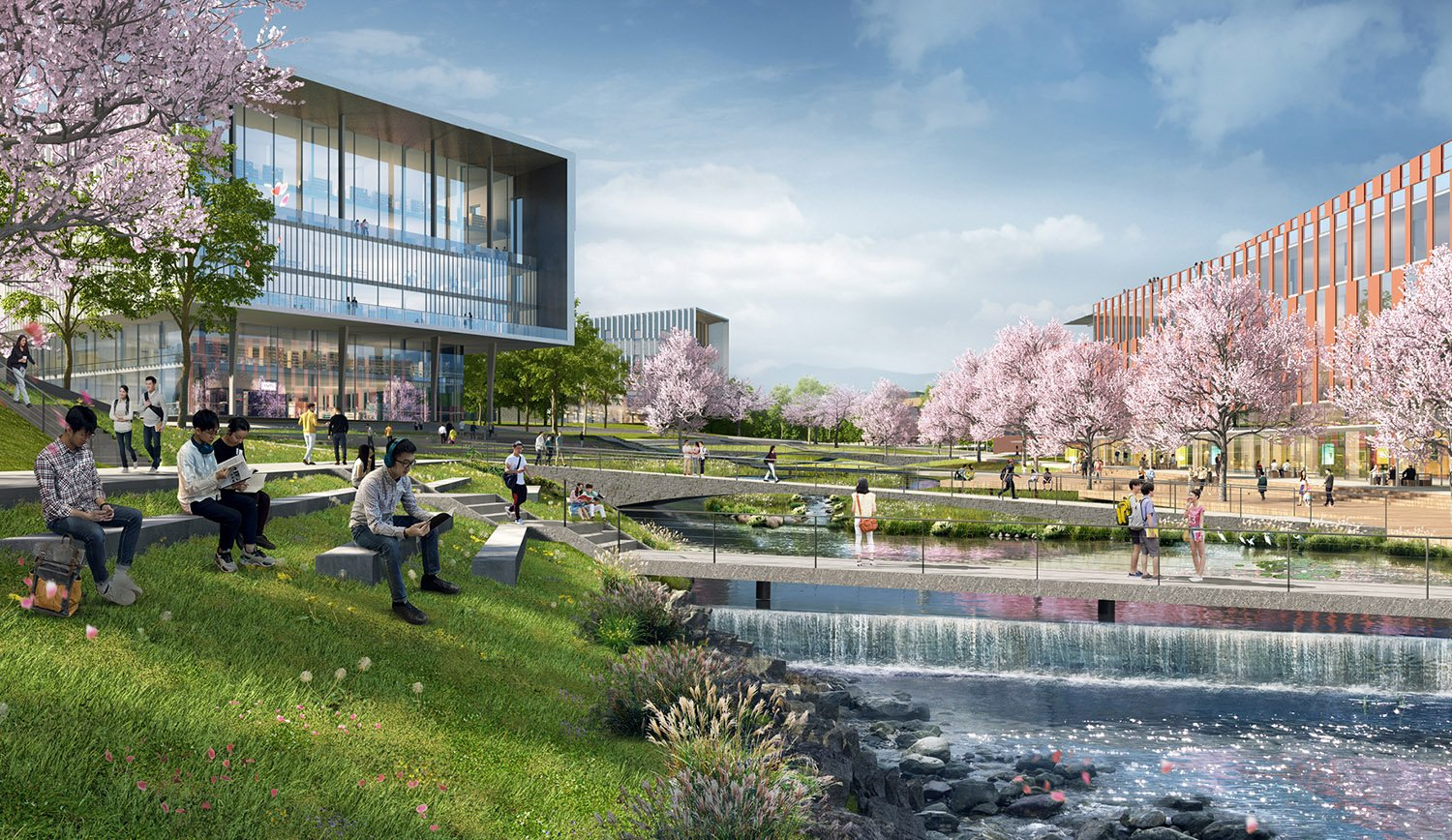 The academic valley is a multifaceted landscape that offers many ecosystem services while providing critical campus connection and recreation opportunities SASAKI
