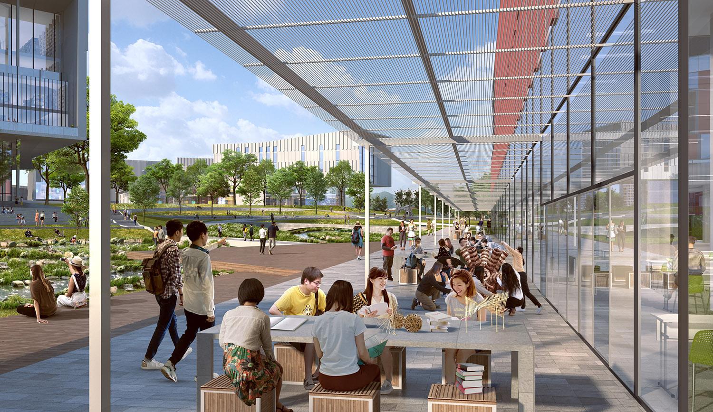 Flexible public space and outdoor classrooms SASAKI