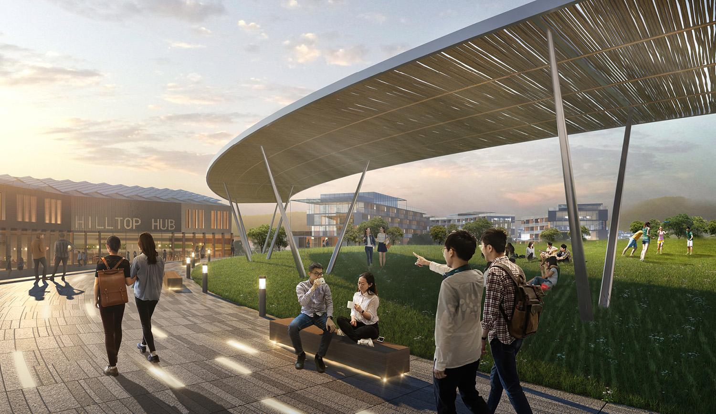 Hilltop student hub and event lawn SASAKI
