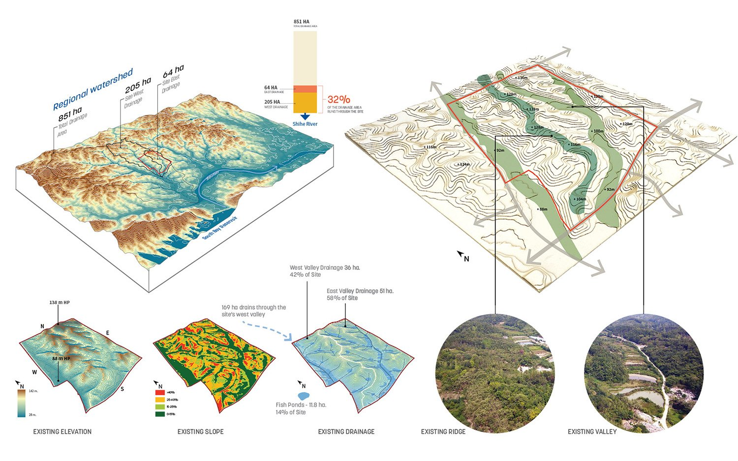 A thorough analysis of topography and regional hydrology provides the foundation of the campus masterplan. SASAKI}