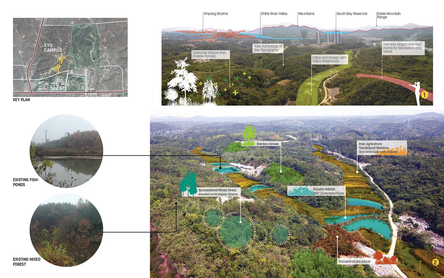 EXISTING SITE CONDITION: The project site exhibits characteristics of the typical regional landscape of rolling terrain, successional mixed-forest, and post-agriculture transitional meadow. SASAKI}