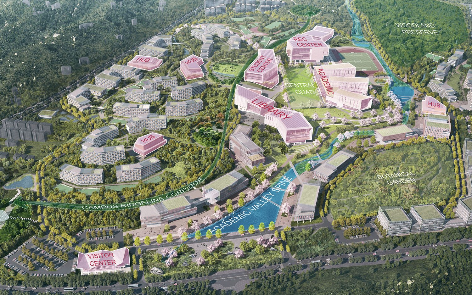 The new campus strives to advance Xinyang University's educational mission as a 21st-century liberal arts institution focusing on collaborative and experiential learning. SASAKI}