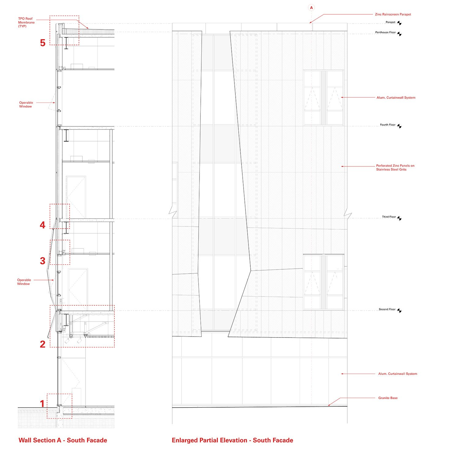 Partial Elevation and Wall Section Leers Weinzapfel Associates}