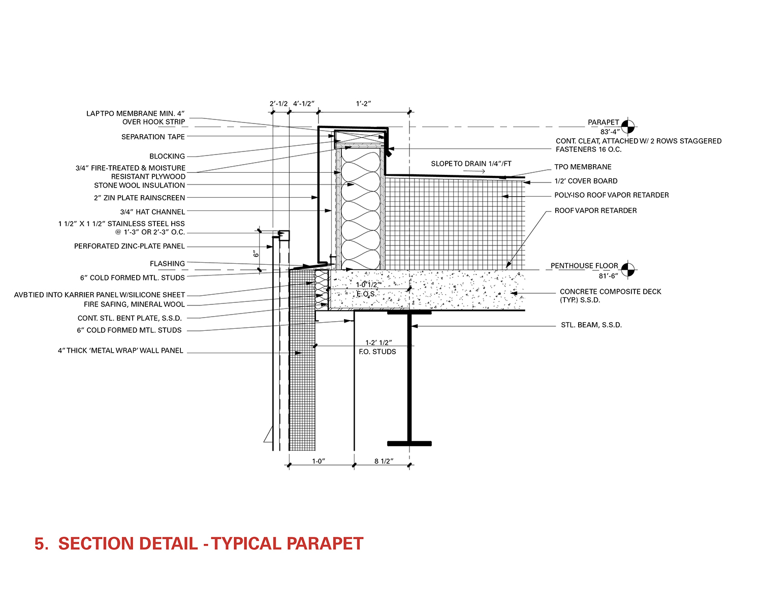Section Detail - Typical Parapet Leers Weinzapfel Associates}