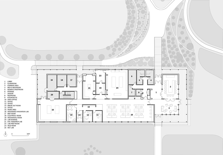 Main level building plan Ayers Saint Gross}