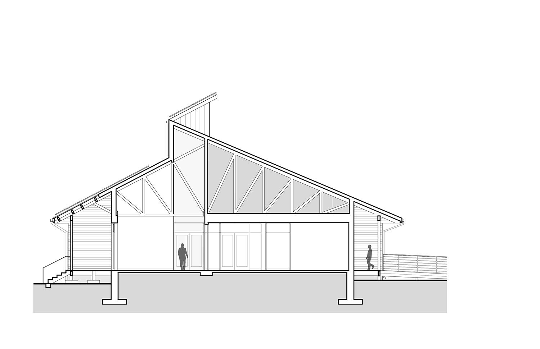 Transverse building section Ayers Saint Gross}