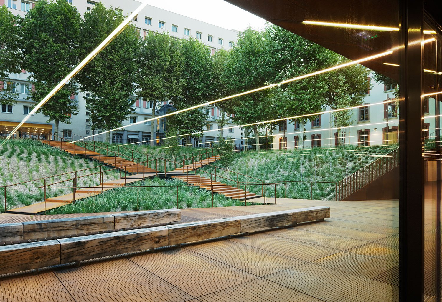 """""""There was great potential on this site for a garden, a place for the students to interact in convivial surroundings.  It was also a unique opportunity to recreate a large tree-filled square in the  heart Takuji Shimmura"""