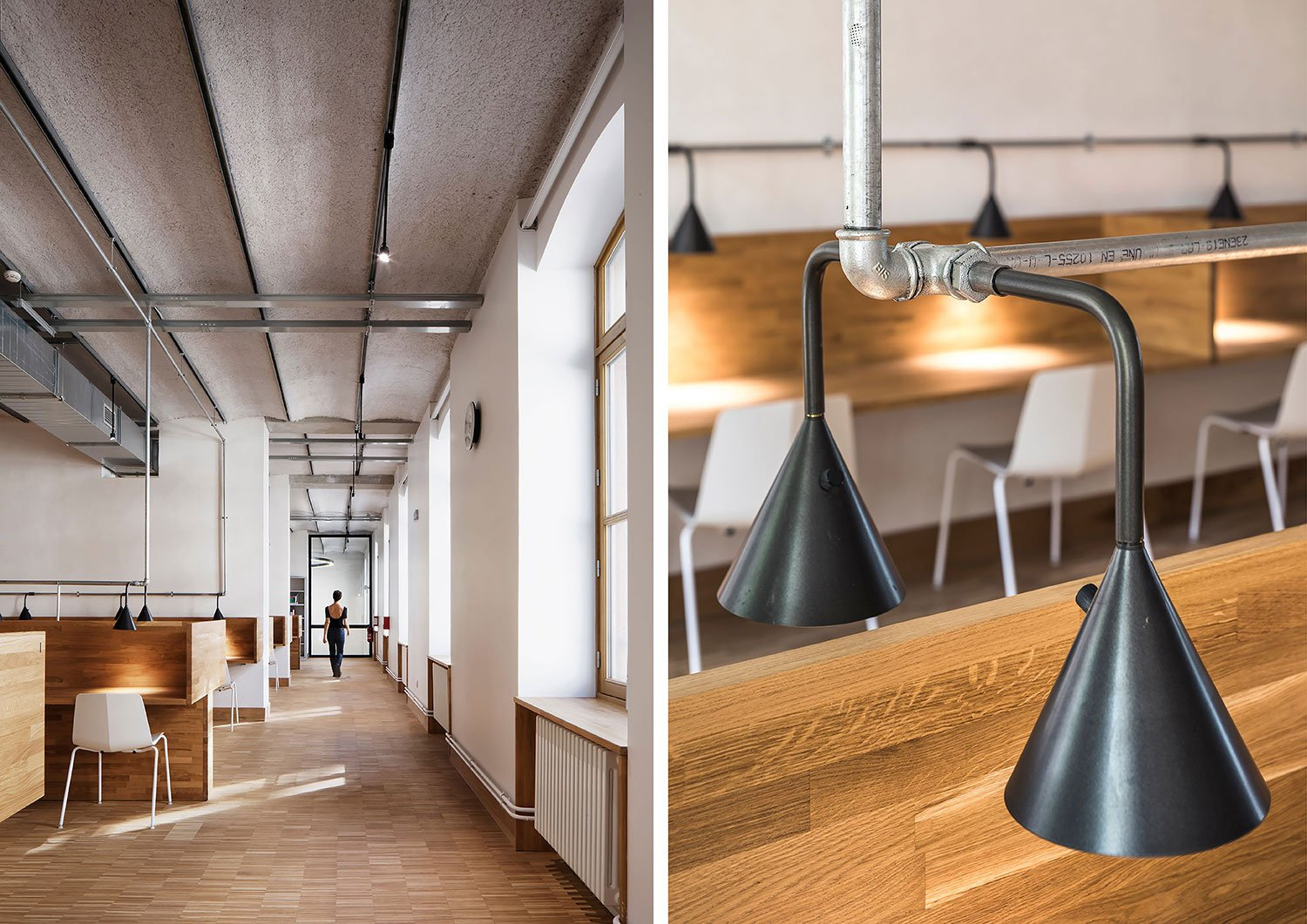 """A certain """"brutalism"""", linked to the visibility of all the utility networks, contrasts with the fine details of the made-to-measure furniture and the nobility of the raw materials (steel, solid oak, floorb Camille Gharbi (left), Sergio Grazia (right)"""