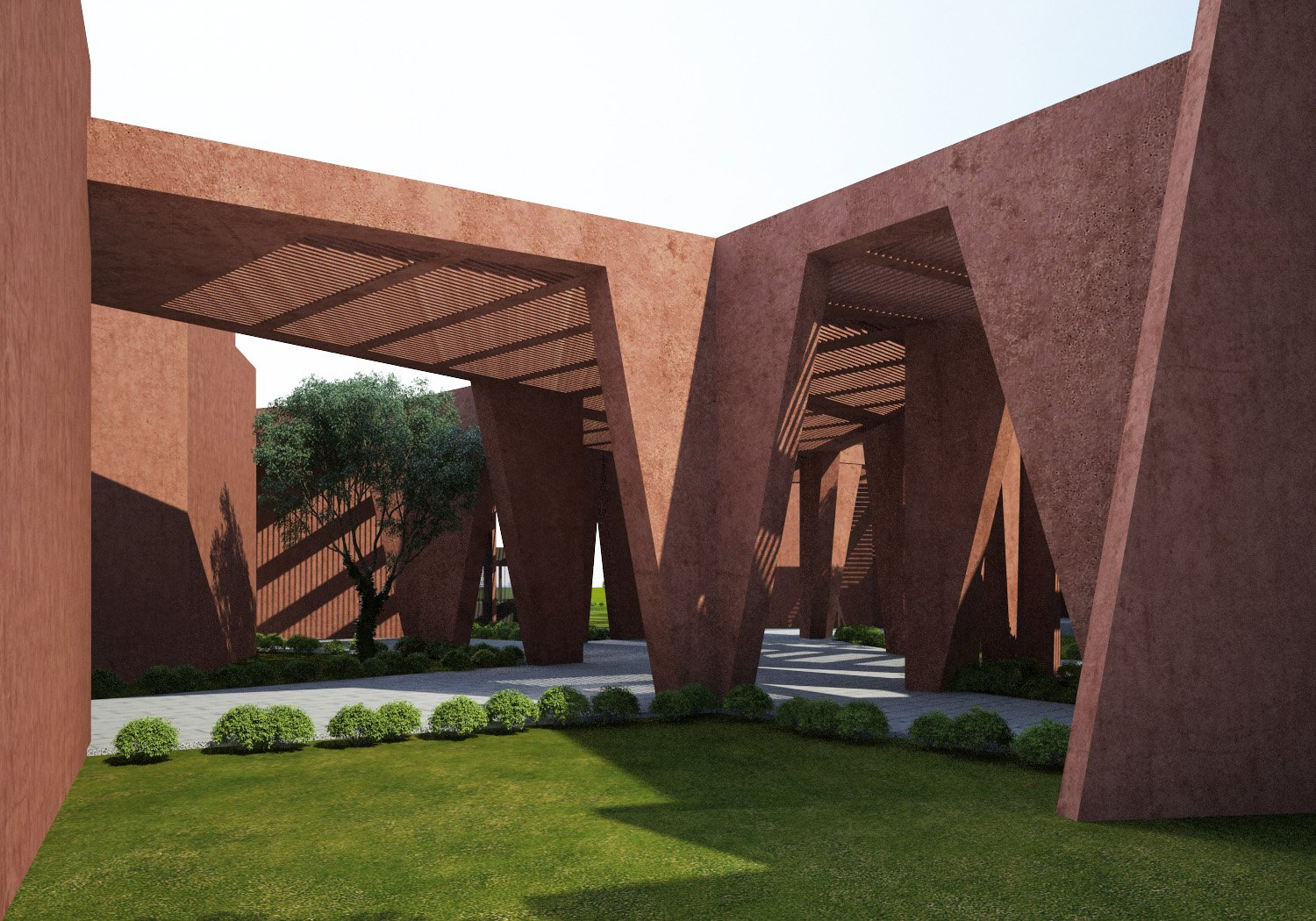 3d Render - Central Courtyard Sanjay Puri Architects}