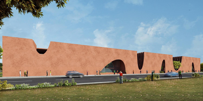 Main entrance towards south Sanjay Puri Architects
