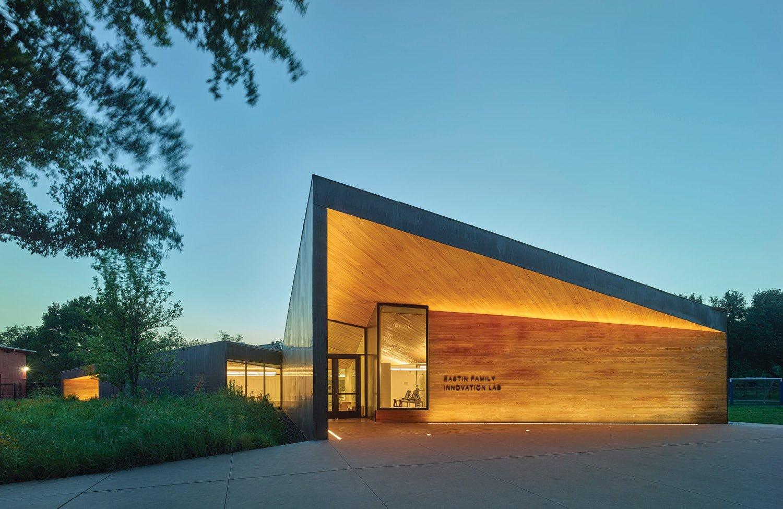 The Lamplighter School Innovation Lab Entrance at Dusk Timothy Hursley