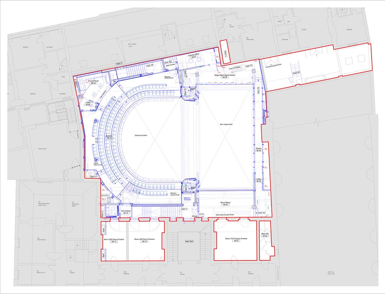Plan - Theatre Balcony Level Ian Ritchie Architects Ltd}