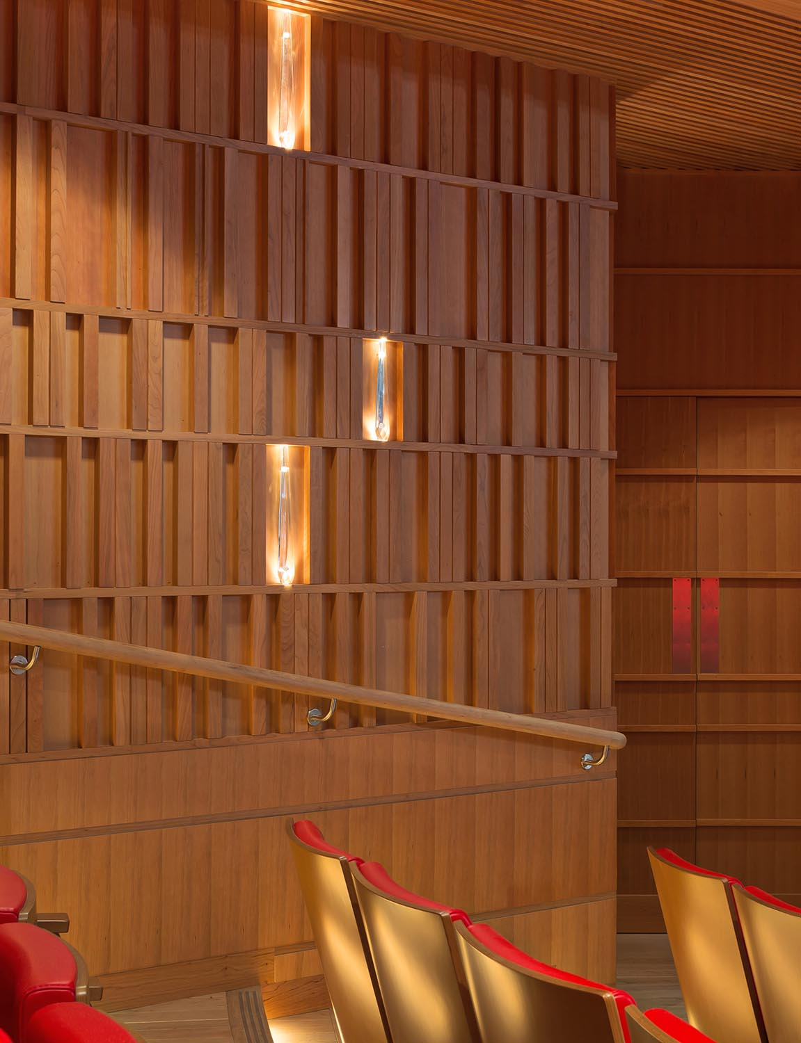 Susie Sainsbury Theatre - Cherry lined wall detail with embedded crystals Adam Scott