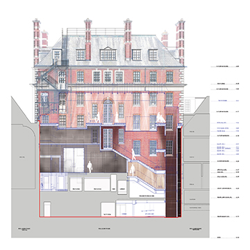 Main Building - Rear Elevation - The new light wells reveal the previously concealed Grade II rear façade. Ian Ritchie Architects Ltd}