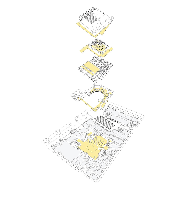 Axonometric showing vertical arrangement of spaces Ian Ritchie Architects Ltd}