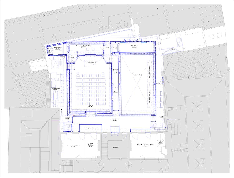 Plan - Recital Hall Level Ian Ritchie Architects Ltd}