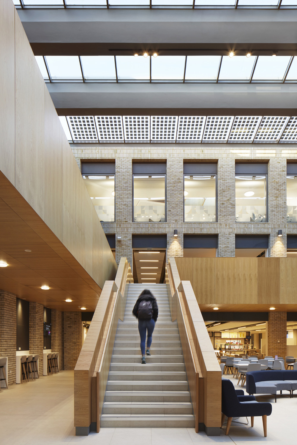 Stairs to first floor level - thin film photovoltaics visable within the roof glazing Jack Hobhouse