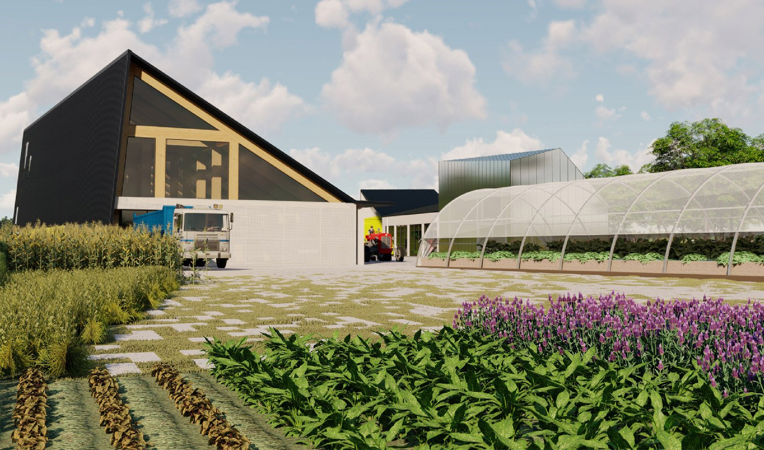 The Center articulates the working farm as a next-generation civic infrastructure. University of Arkansas Community Design Center