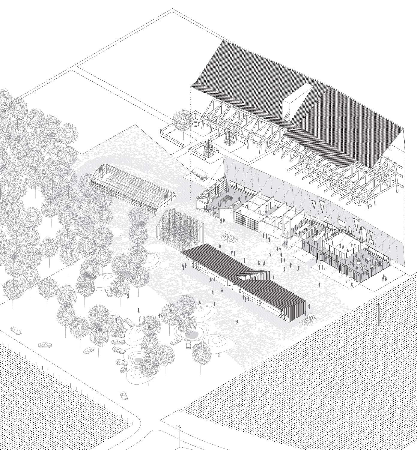 The complex arrays parking gardens in an orchard, garage/shop, greenhouses, and training loft. University of Arkansas Community Design Center}