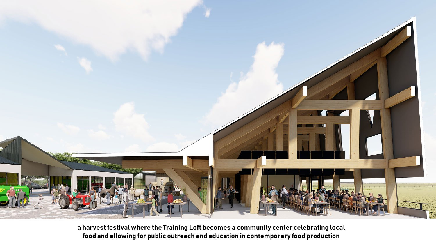 The classroom and event space hosts community gatherings promoting food literacy. University of Arkansas Community Design Center}