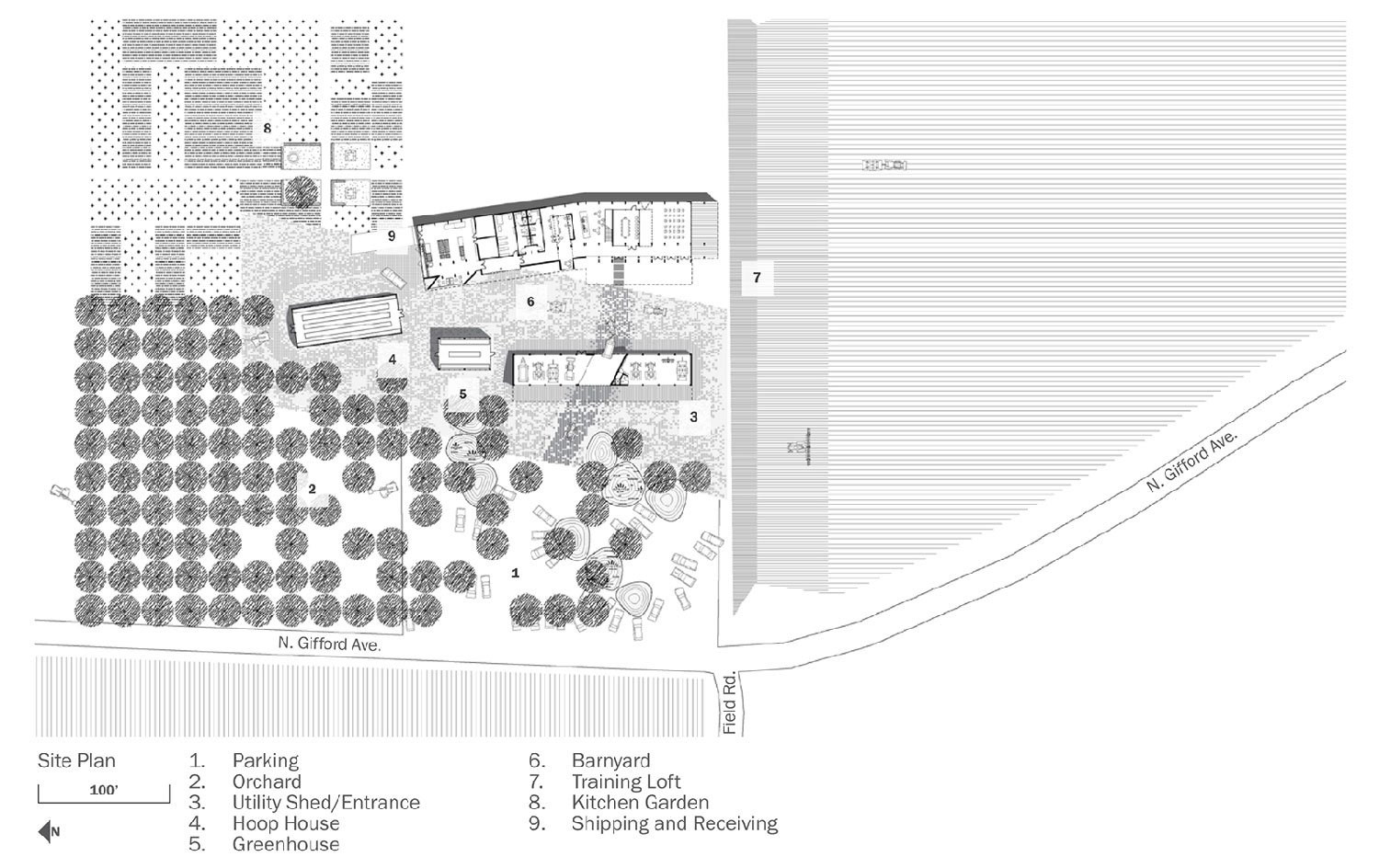 The Center intersperses green parking spaces within a working orchard. University of Arkansas Community Design Center}