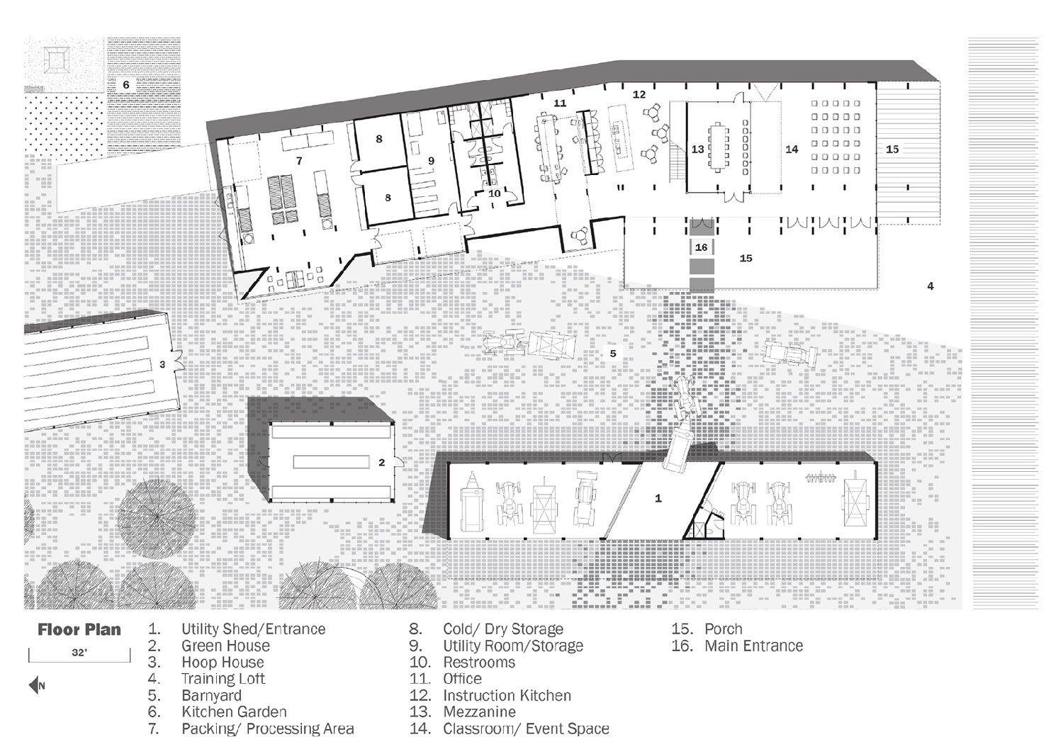 The barnyard provides an intimate node to all spaces of the complex. University of Arkansas Community Design Center}