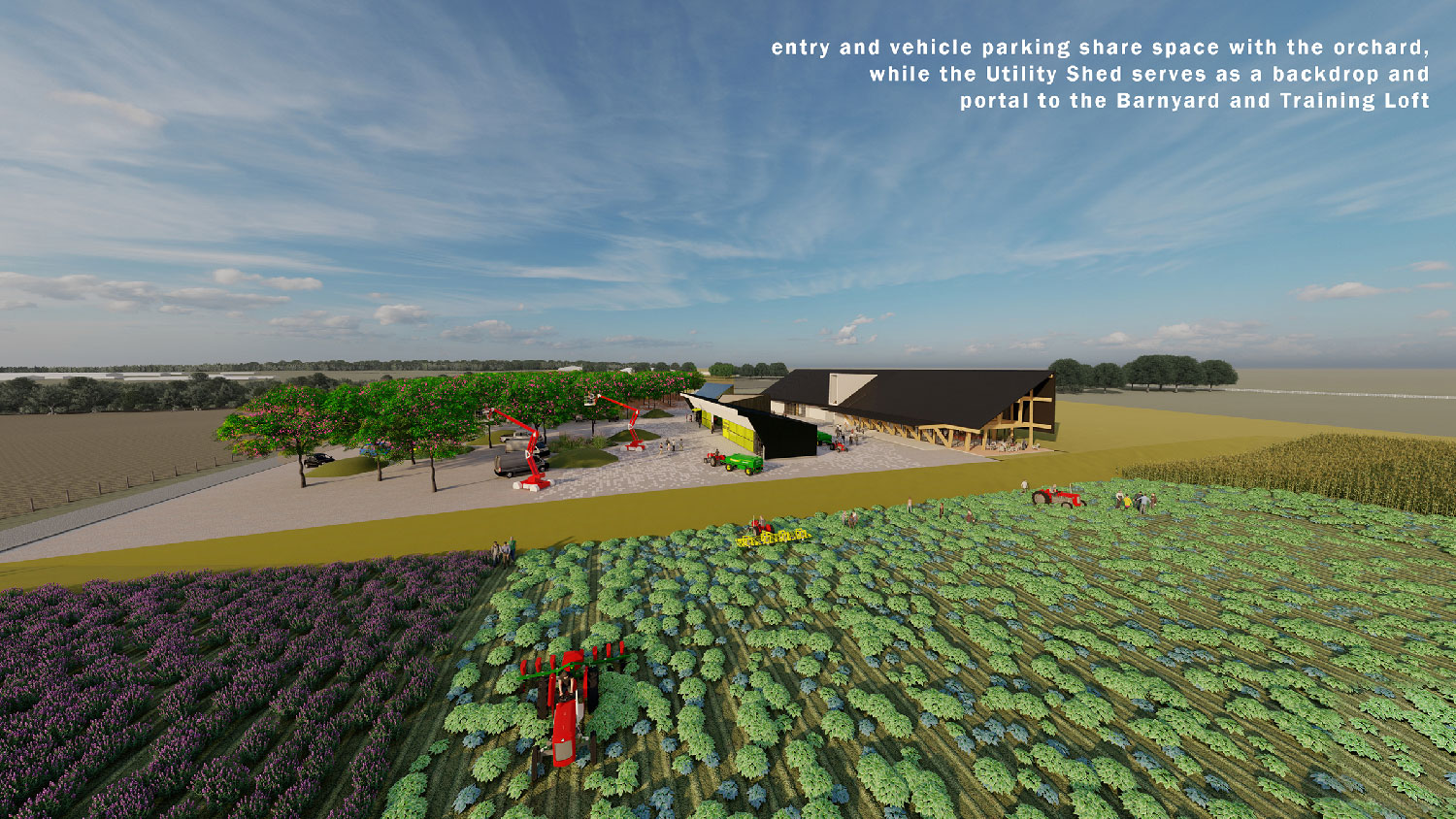 The Center anchors working fields and orchards. University of Arkansas Community Design Center}