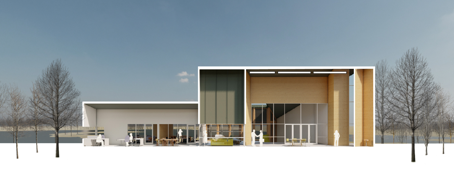 Views of the pond are framed by all interior spaces. University of Arkansas Community Design Center}