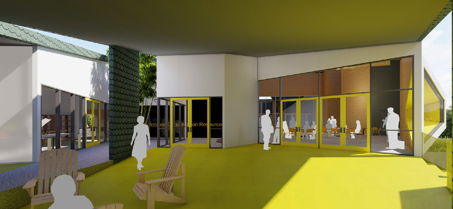 Complementary functions of engineering office and public education are expressed in porch entry. University of Arkansas Community Design Center}